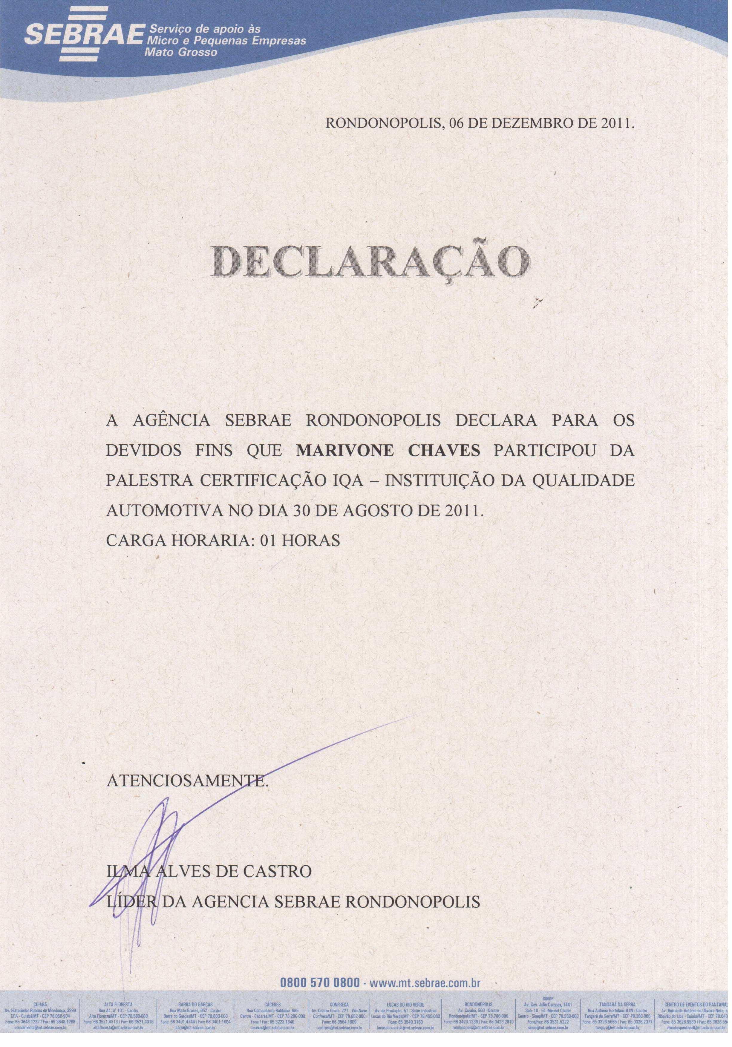 Certificação IQA - Instituto da Qualidade Automotiva