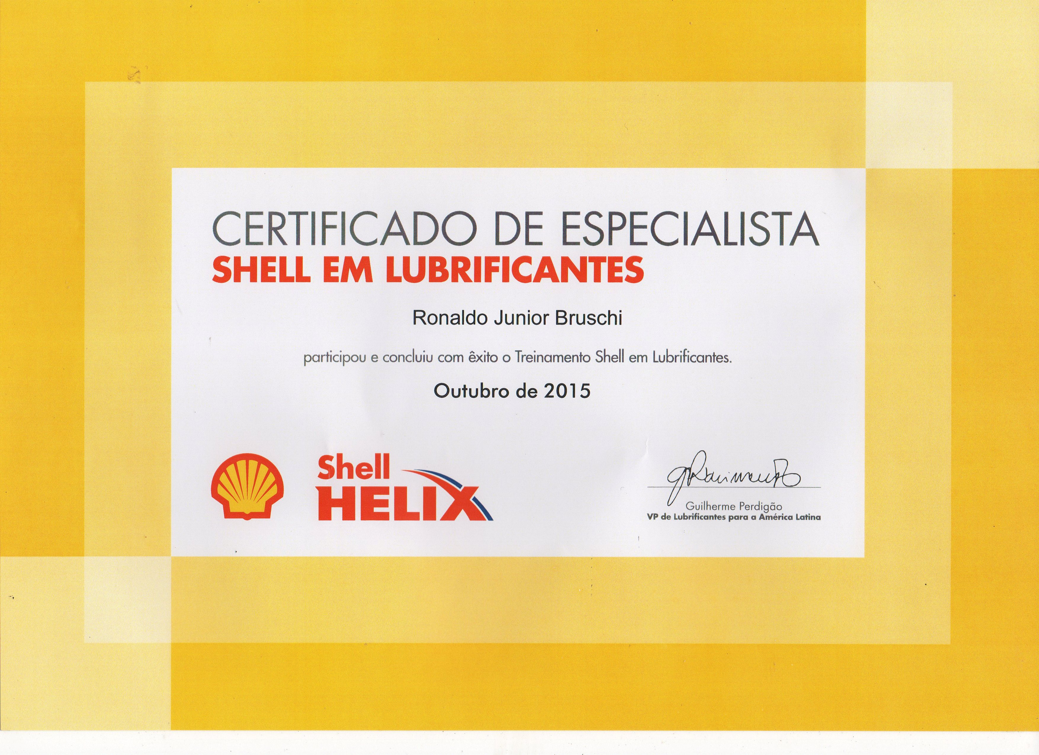 Certificado de Especialista Shell em Lubrificantes